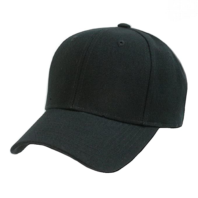 Decky Plain Solid Fitted Baseball Cap Black (Size 7 3 8) at Amazon ... 81c8497f1ad