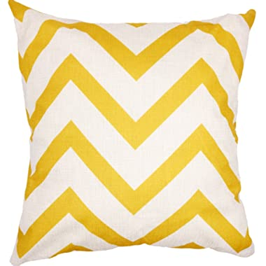 Arundeal Double Sided Chevron Yellow and White Stripe 18 x 18 Inch Cotton Linen Square Throw Pillow Cases Cushion Cover - Yellow