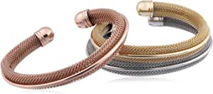 Morgan Jewelry Silver-Plated Round Mesh-Chain Pebble Cuff Bracelet for Women - Set of 3 Pieces