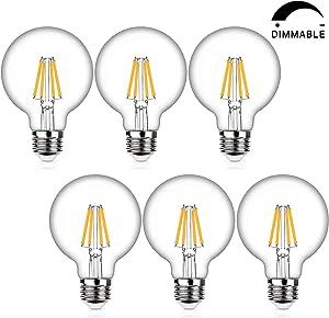 LED Globe G25 Dimmable Edison Light Bulbs 60W Equivalent, 2700K Warm White, 800Lm, E26 Medium Screw Base, 7Watt Omnidirectional Bathroom Vanity Mirror Light, 6-Pack