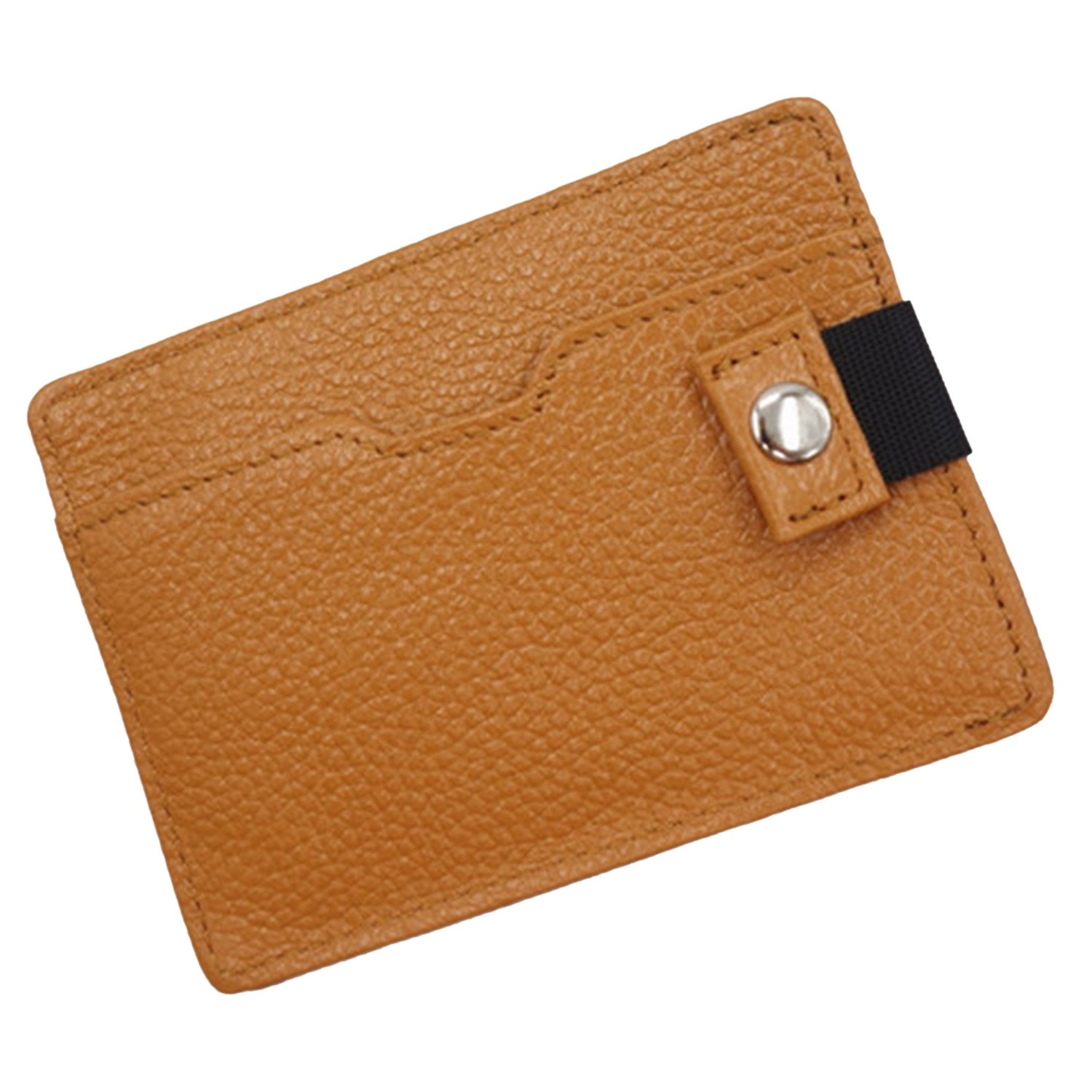 Sasairy Leather RFID Blocking Credit Card Wallet Mini Purse with Security Button