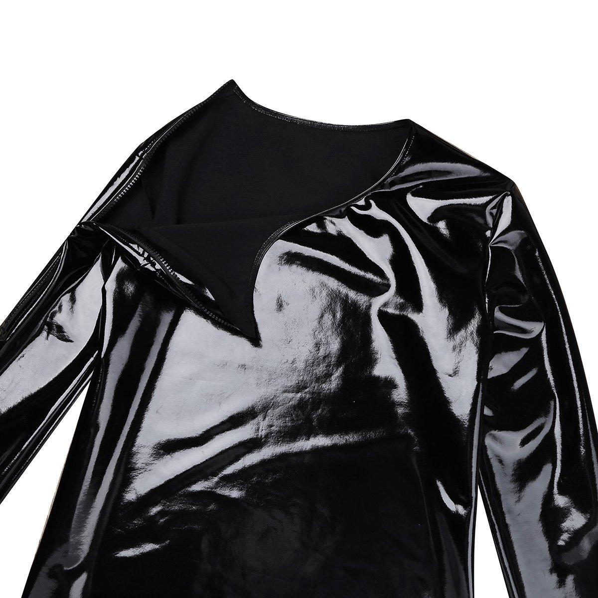 TiaoBug Mens Shiny Patent Leather Long Sleeve Zipper Metallic T-Shirt