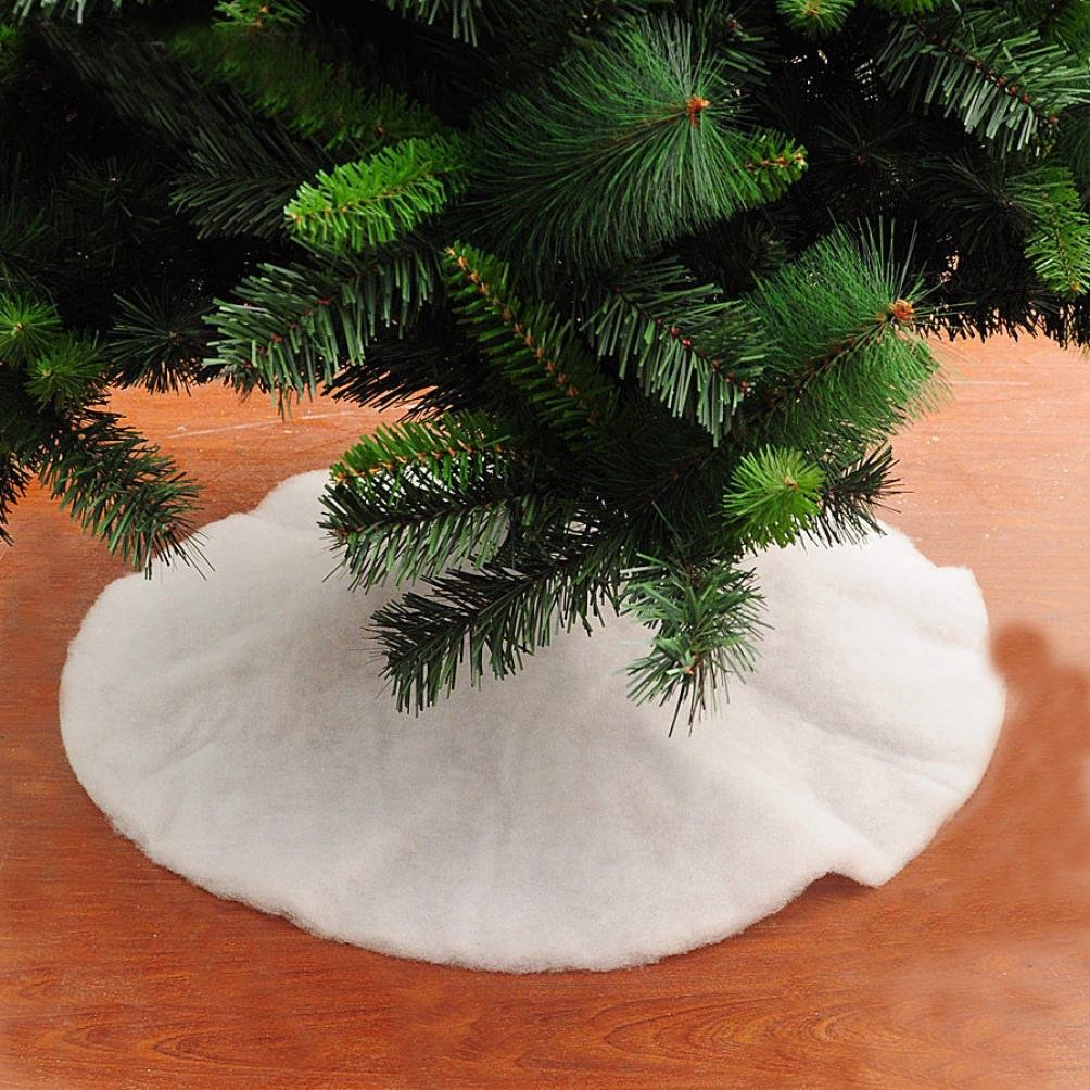 Amiley Christmas Tree Skirt , Hot sale Christmas Fake Snow Blanket Christmas Tree Skirt Decoration Tree Skirt New Year Party Gift Supply (B:80/31.5'')