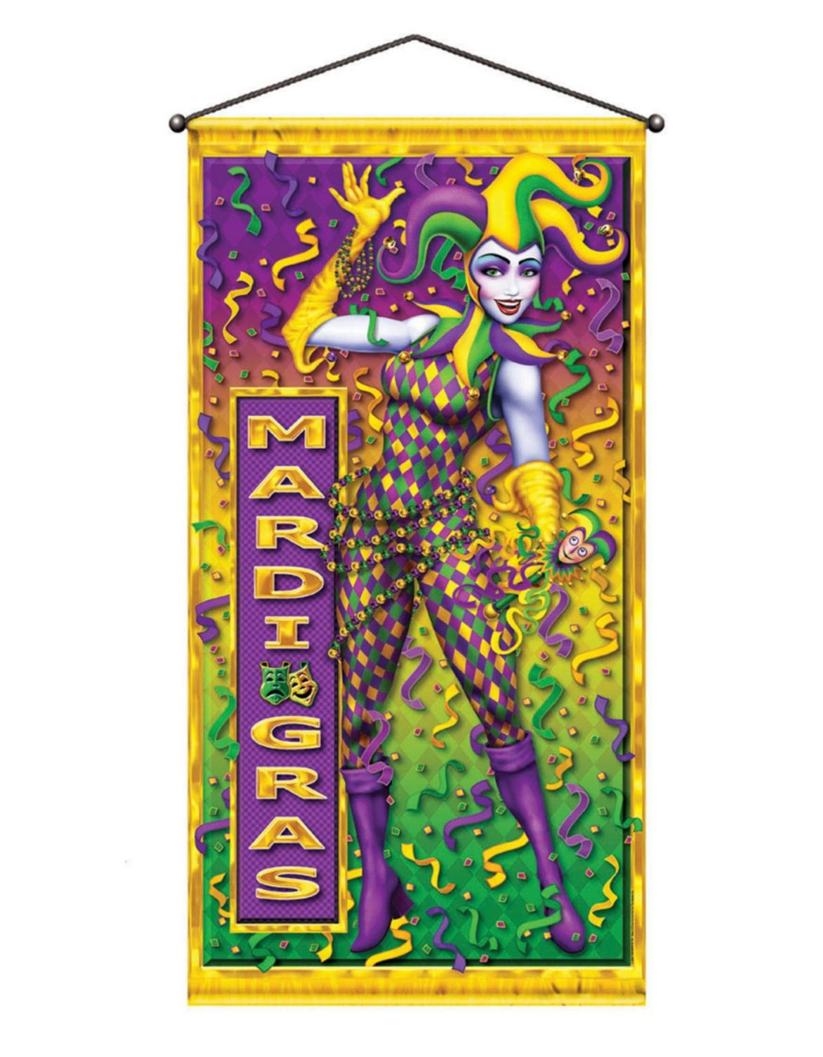 Pack of 12 Colorful Mardi Gras Metallic Party Door or Wall Hanging Decorations 60''