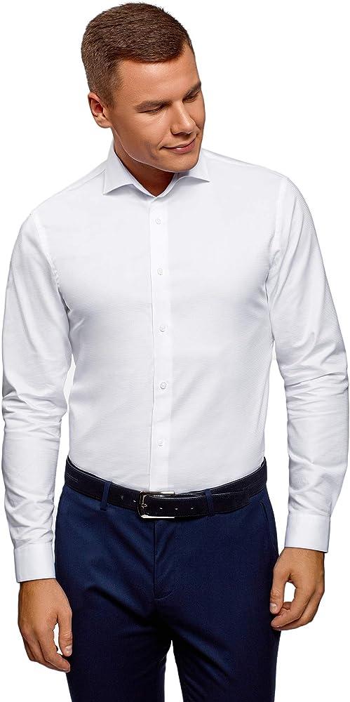 oodji Ultra Hombre Camisa Texturizada Entallada, Blanco, 38: Amazon.es: Ropa y accesorios