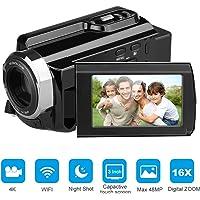 Cámara Videocámara FLOUREON 4K Ultra-HD 48 Megapíxeles 3.0 pulgadas LCD capacitiva 270 grados de rotación con pantalla táctil Modo AP WIFI 16x Zoom Digital Night Shot PC Web Camera EU