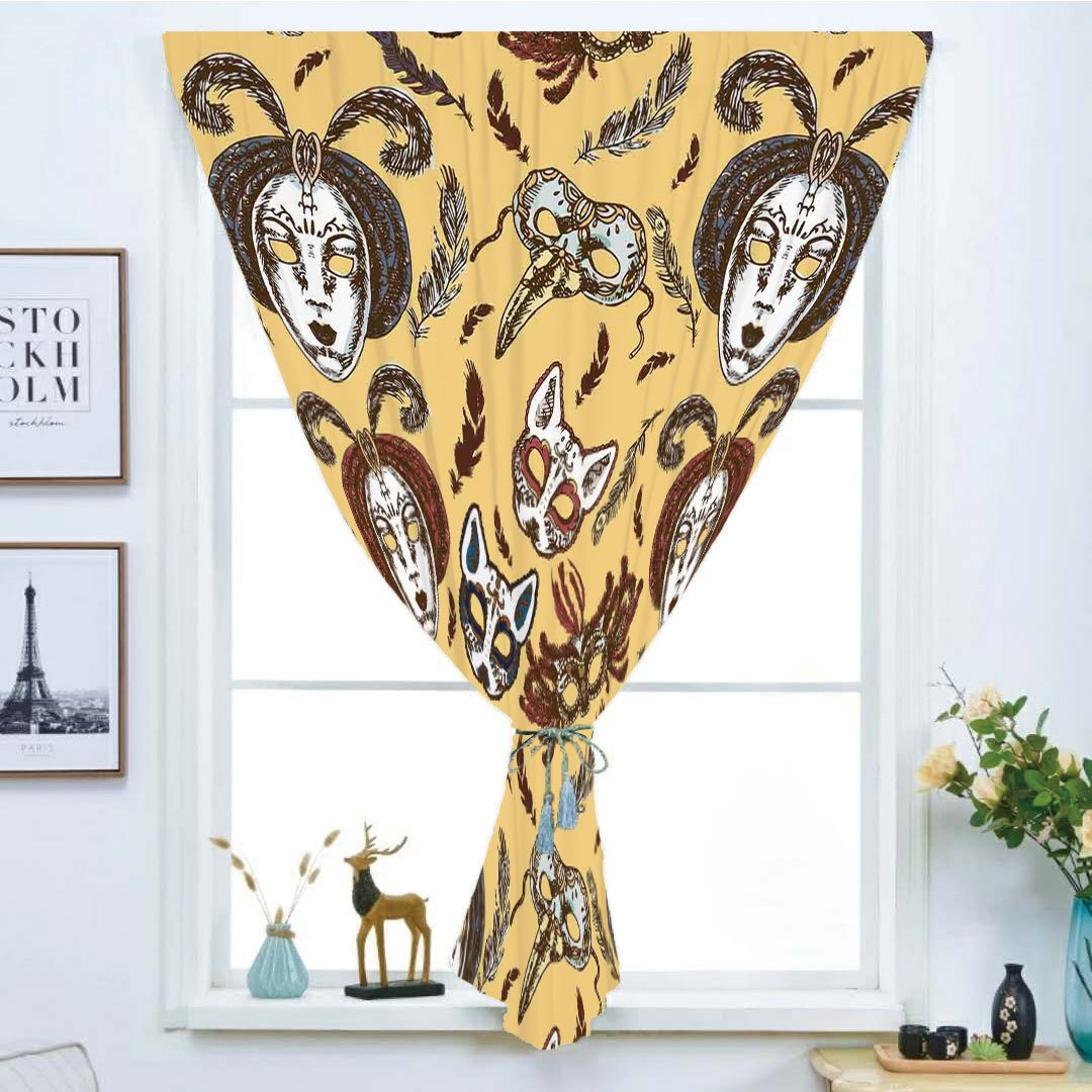 iPrint Blackout Window Curtain,Free Punching Magic Stickers Curtain,Masquerade,Venetian Style Paper Mache Face Mask with Feathers Dance Event Theme,Mustard Brown White,Paste Style,for Living Room
