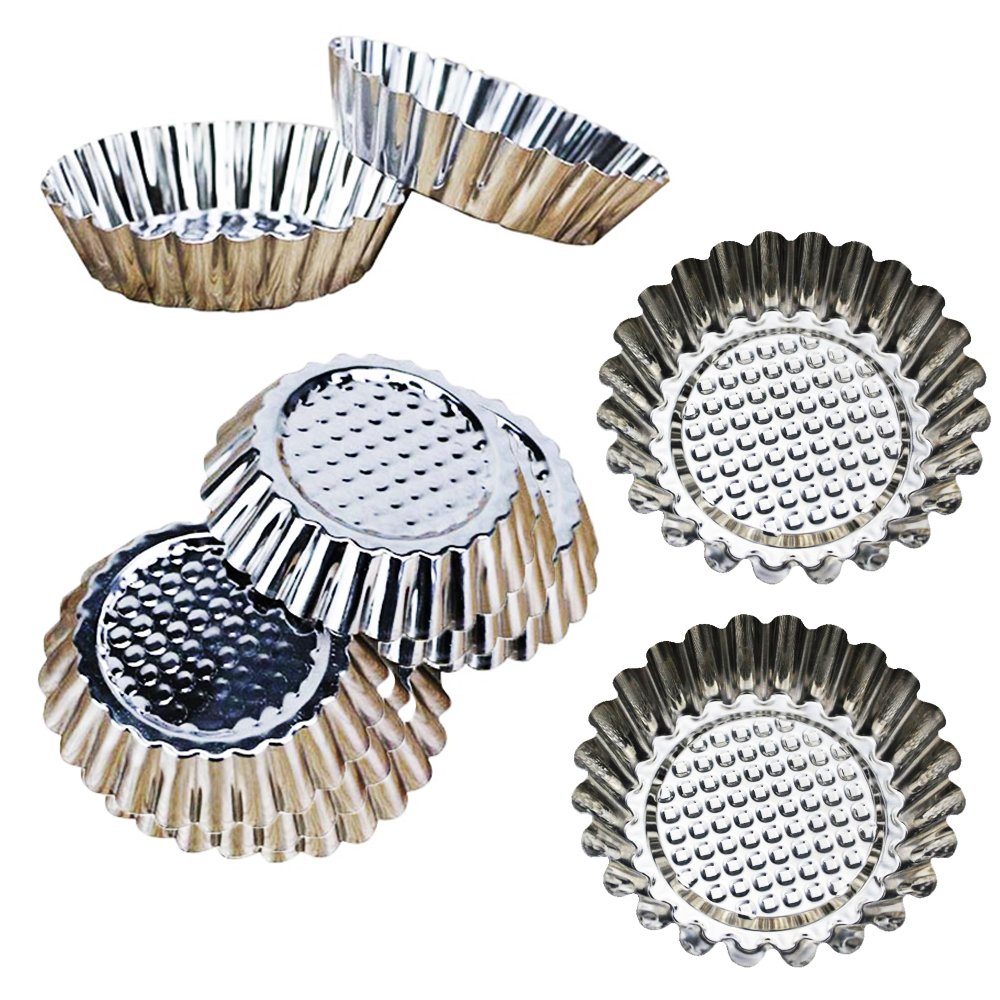 Guestway Egg Tart Mold Stainless Steel Cupcake Baking Mold Reusable Metal Muffin Baking Cups Fruit Tart Molds Tartlets Pans Tins 20 Pack by Guestway