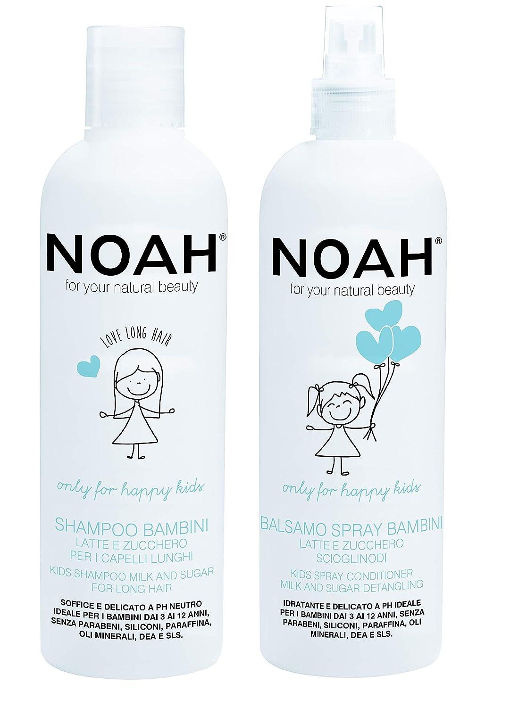 NOAH Kids Shampoo and Conditioner Detangler for Kids - Non Toxic, Sulfate Free, Vegan, Cruelty Free Shampoo and Conditioner - With Milk & Sugar - 8.5 fl.oz (250 ml) Each
