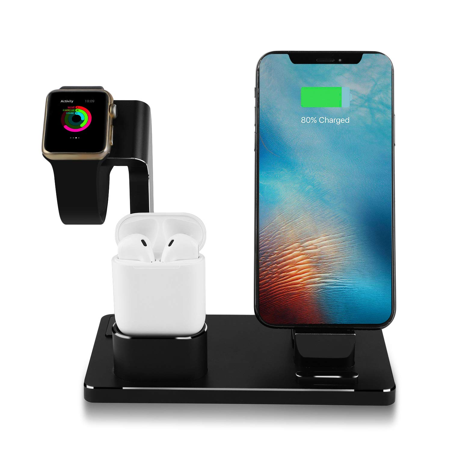 TUOPUKE Magnetic Adsorption Installation Aluminium Stand for Apple Watch, Charging Stand Dock Station for AirPods Stand Charging Docks Holder, Support for Apple Watch NightStand Mode and for iPhone