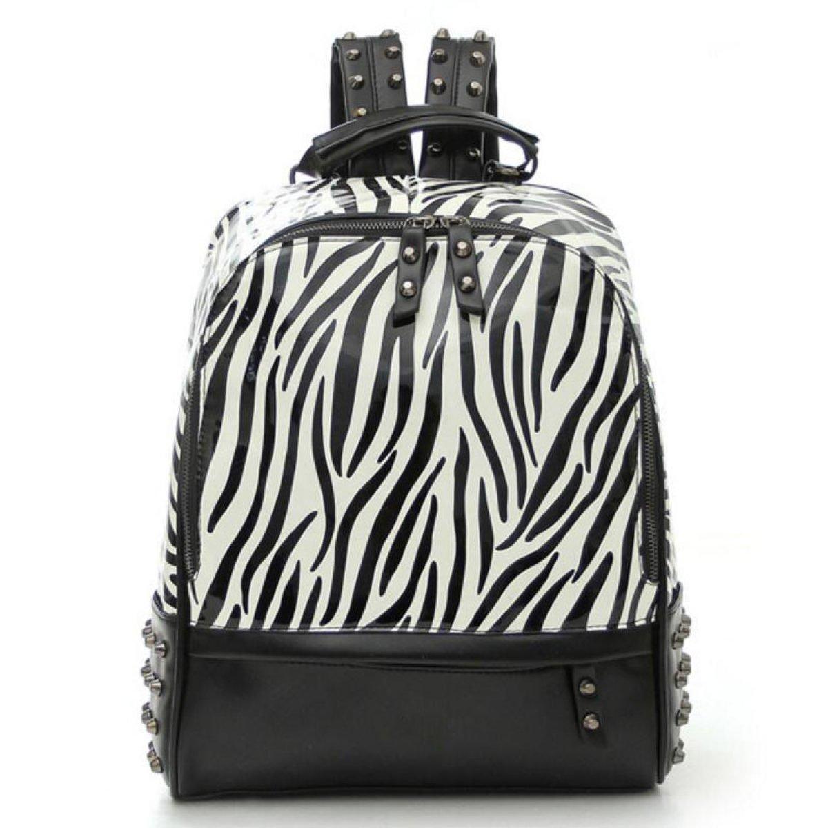 Woman College Backpack Zebra Print Bag Backpack, Black HAOXIAOZICOMPANY