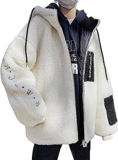 アウター ボアジャケット メンズ ボアコート ボアブルゾン ファスナー フリースジャケット もこもこ フード付き 黑 白 暖かい 春 秋 冬 服 カンゴール パーカー 防寒 厚手 おしゃれ