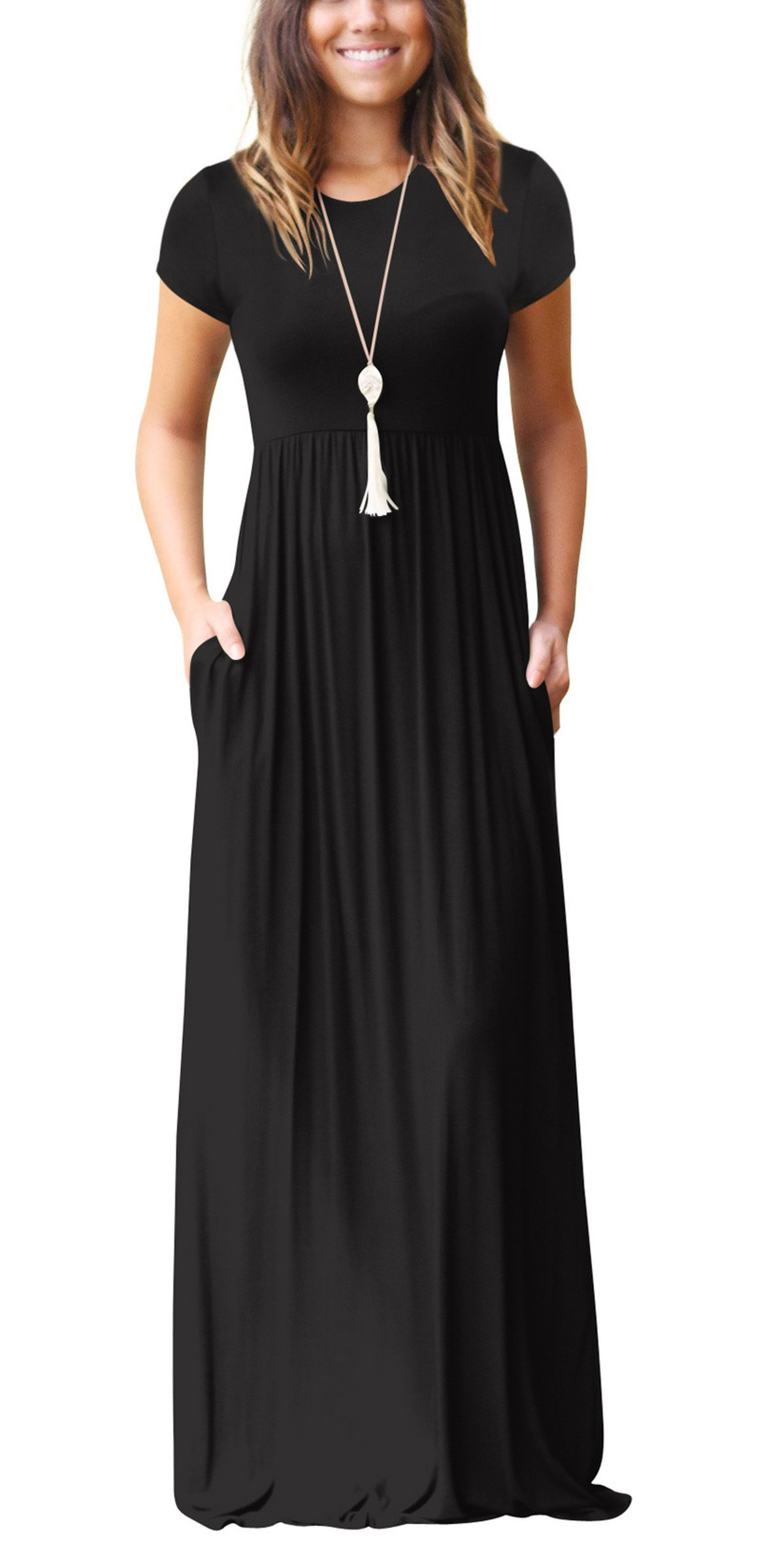 Freemale Womens Short Sleeve Crewneck Solid Casual Long Maxi Dresses with Pockets Plus Size