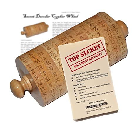 Cipher Wheel Decoder and Top Secret Dissolving Spy Paper Bundle with Bonus  Cypher Text Article – Use This Fun Tool Kit for Passwords, Messages, Magic