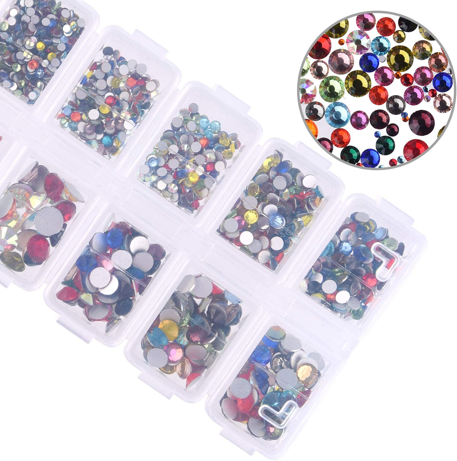 in Storage Box with Tweezers and Picking Rhinestones Pen SS4-SS30 Multicolor KUUQA 2000 Pieces Hot Fix Glass Flatback Rhinestones HotFix Round Crystal Gems 1.5-6 MM