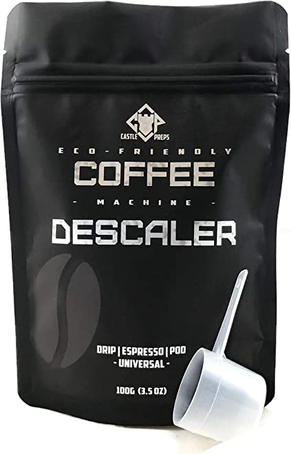 Castle Preps Eco-Friendly Coffee Machine Descaler and Cleaner for Drip, Pod, Capsule, Water Kettle and Espresso Machines, 100g