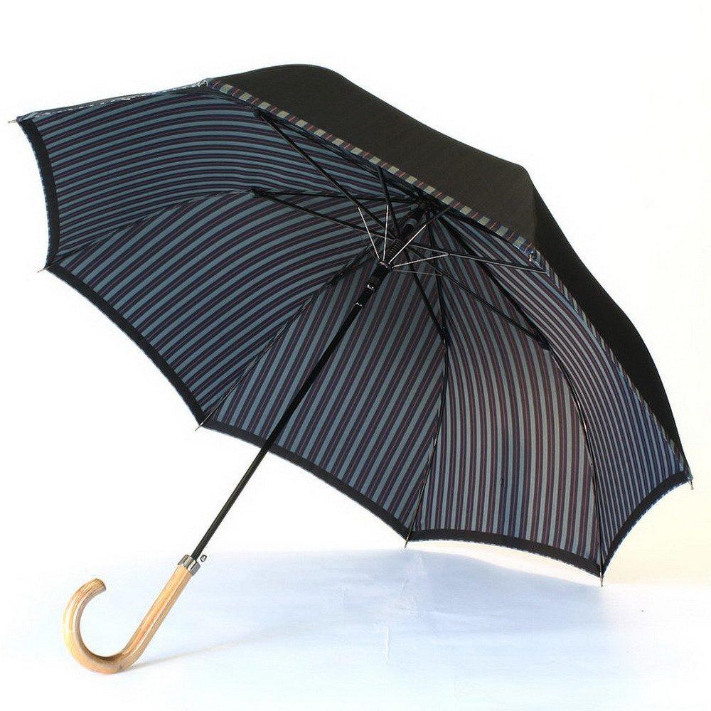 高級甲州織 メンズ 長傘 「Tie」 無地  ストライプ NAVY 紺色 江戸時代から140年以上の歴史を持つ甲州織の老舗傘メーカー 槙田商店 紳士用 高級傘 B019M83UF2ネイビー(6725)
