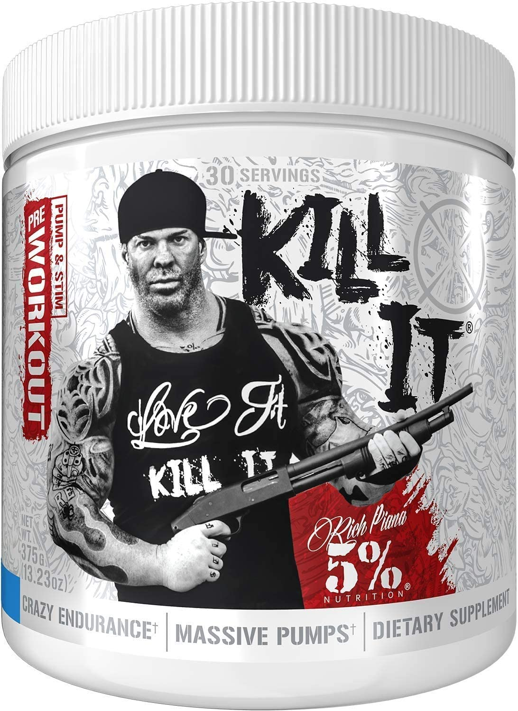 Rich Piana 5% Nutrition Kill IT Pre Workout Powder w/ Creatine, Jitter-Free Caffeine, NO-Booster, Beta Alanine, L-Citrulline for Focus, Pump, Endurance, Recovery 13.23 oz, 30 Srvgs (Blue Raspberry)