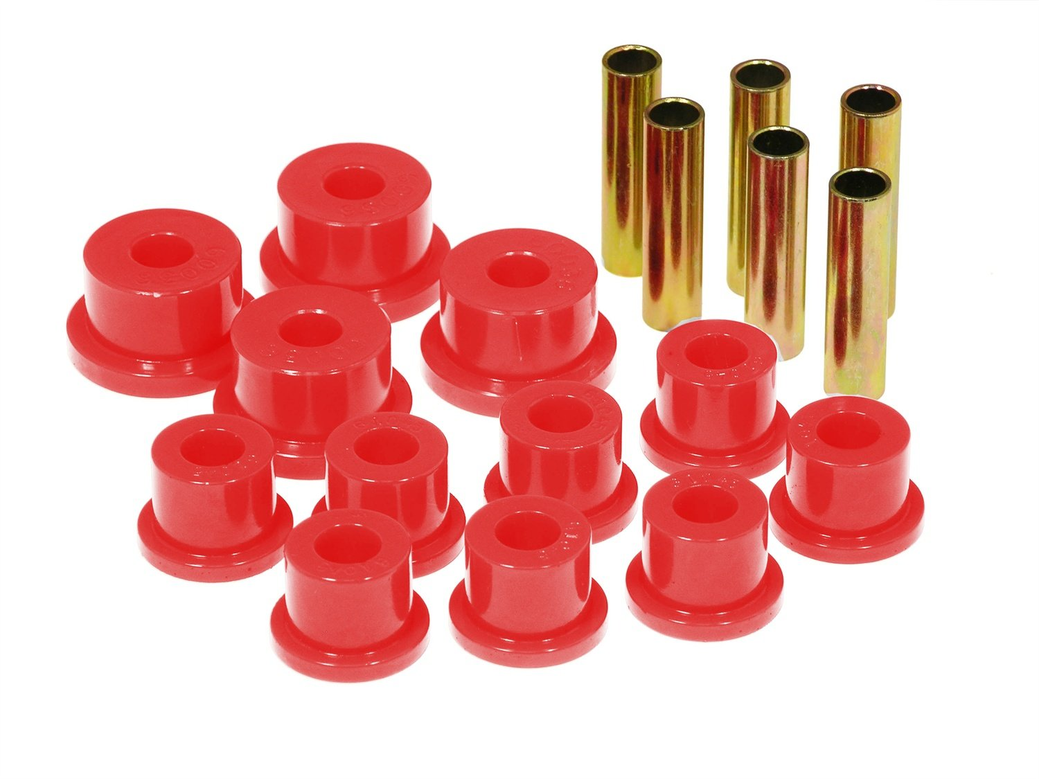 Prothane 17-1002 Red Spring Eye and Aftermarket Shackle Bushing Kit