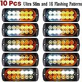 Luixxuer 10pcs Emergency Strobe Lamps 12-LED Surface Mount Flashing Lights for Truck Car Vehicle Waterproof LED Emergency Bea