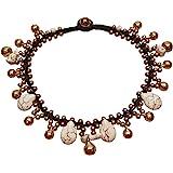 Infinity Howlite Anklet Drop Handmade Brass Bead Bell Ankle Bracelet for Women KAN-H01