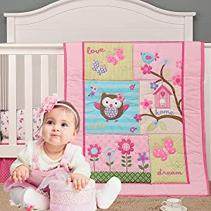 Brandream Garden Birds Floral Crib Bedding Sets for Girls | 3-Piece Pink Butterfly Nursery Set | Baby Quilt, Fitted Crib Sheet, Dust Ruffled Included - Animal Owl