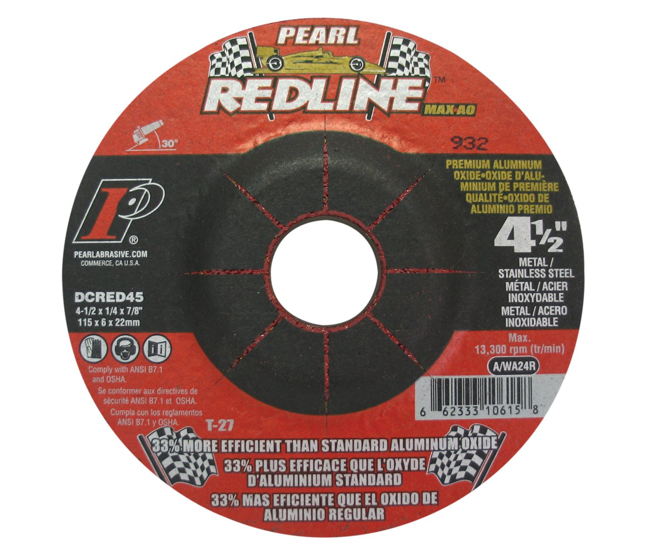 Pearl Abrasive DCRED45 4-1/2'' by 1/4'' by 7/8'' Depressed Center Grinding Wheels (Box of 25)