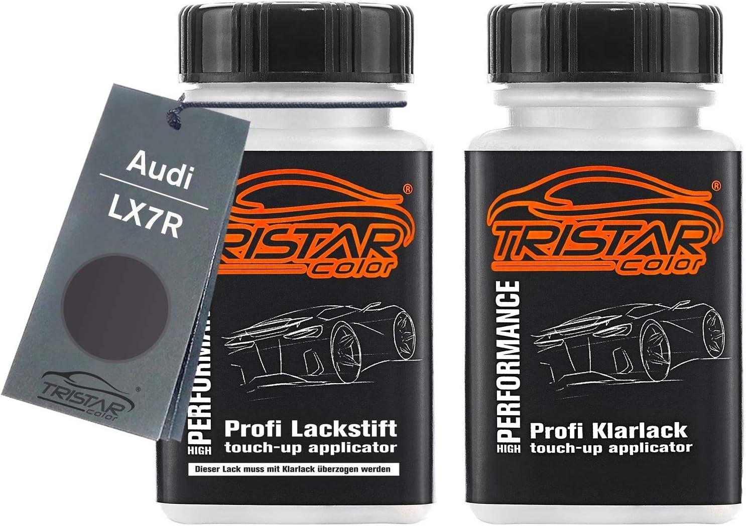 Tristarcolor Autolack Lackstift Set Für Audi Lx7r Monsungrau Metallic Basislack Klarlack Je 50ml Auto