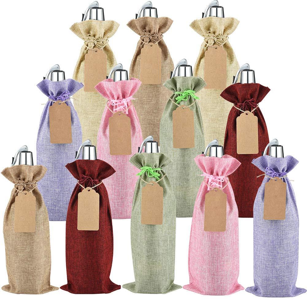 Cratone Rustico Vino Sacchi di Iuta Naturale con Coulisse Sacchetti Regalo Bottiglia di Vino Covers Storage organizzazione con Coulisse caff/è Coffee