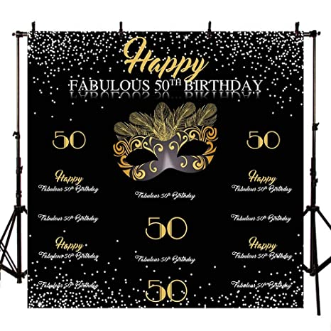 Mehofoto 8x8ft Fabulous 50th Birthday Backdrop Gold Mask Step And Repeat Photo Booth Background Gold And Silver Masquerade Birthday Backdrops For