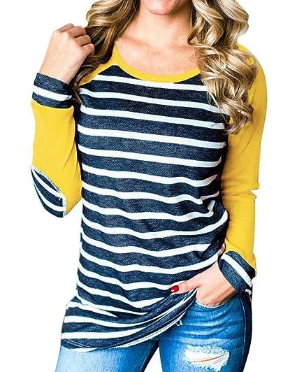 Minetom Mujeres Otoño Invierno Manga Larga Cuello Redondo Camiseta Blusa Elegante Rayas Labor De Retazos Camisa Suelto T-Shirt Tops: Amazon.es: Ropa y ...