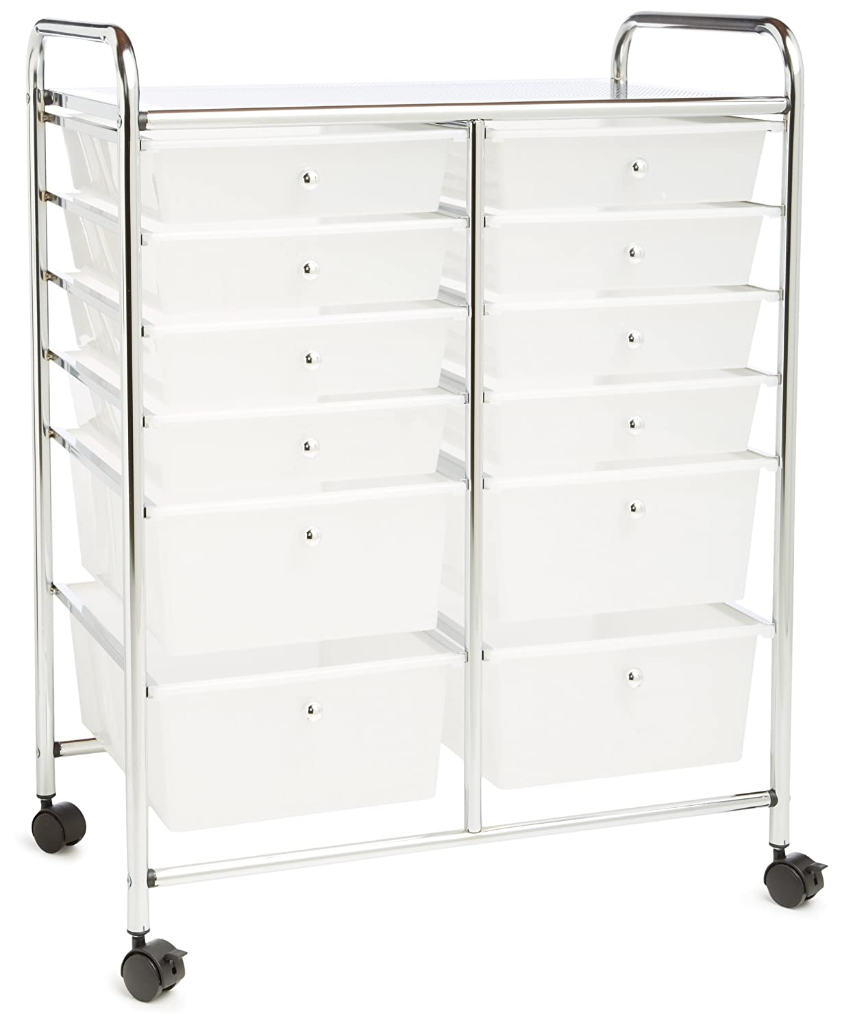 Rolling craft cart with drawers - Amazon Com Honey Can Do Crt 01683 12 Drawer Chrome Studio Organizer Cart Home Kitchen