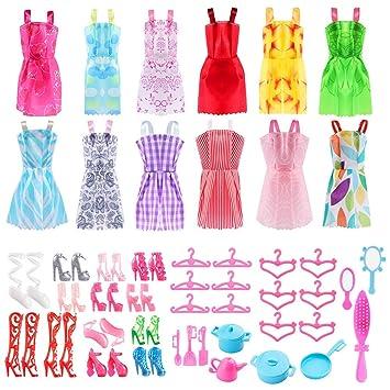 ASANMU 50 Pezzi Vestiti e Accessori per Bambole Dolls, Abito per Dolls Gonna Moda Scarpe Oggetto Rosa Grucce per Bambole Dolls Accessori per della