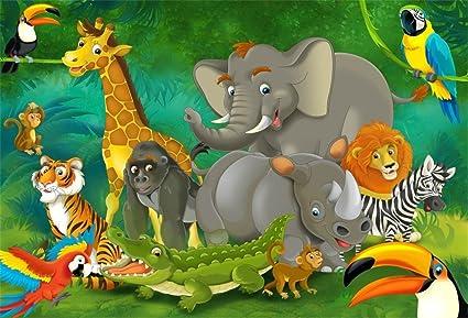 Lfeey 5x3ft Cartoon Zoo Baby Shower Backdrop Kids Baby Birthday Events Decoration Wallpaper Safari Park Elephant Crocodile Lion Wild Animals Party