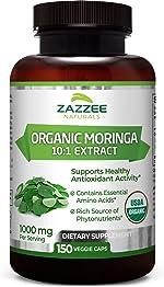 Zazzee USDA Organic Moringa Extract, 150 Count, Vegan, 10,000 mg Strength