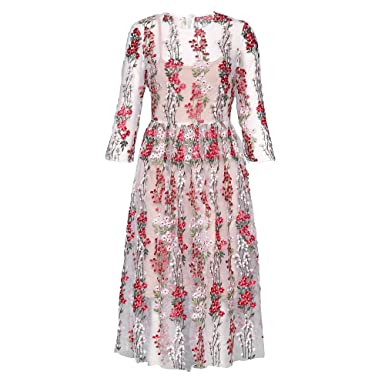42b08b5d136 DEZZAL Women s 3 4 Sleeve Sheer Embroidered Floral Cocktail Dress Cami Dress  (XL