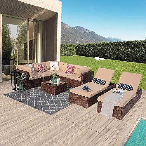 Patiorama Outdoor Furniture Sectional Sofa Set Upgrade 8-Piece Set All-Weather Brown Wicker with Beige Seat Cushions Glass Coffee Table Chaise Lounge Chair Backyard, Pool Steel Frame Brown