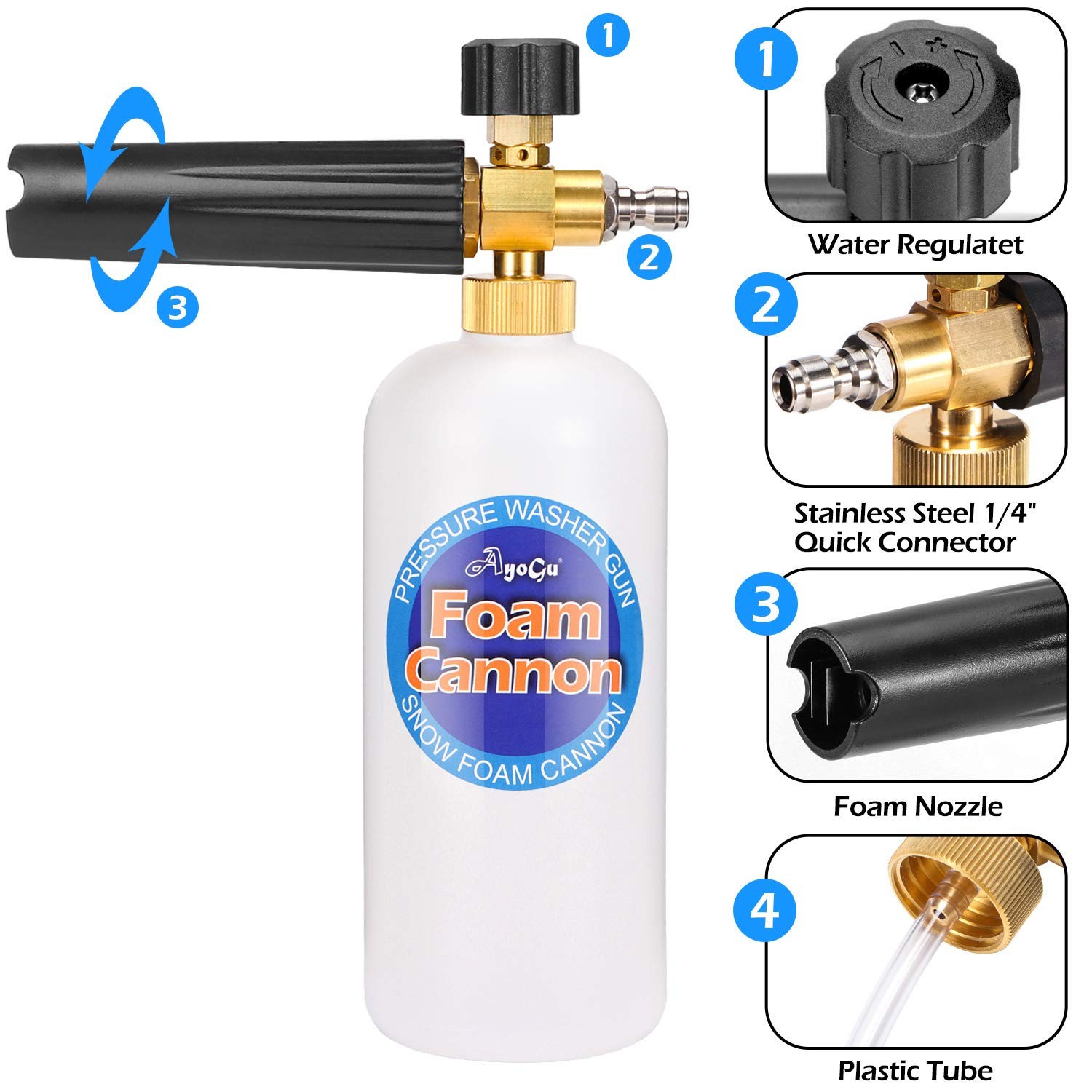 AYOGU1 Foam Cannon 1 Liter Bottle Adjustable Snow Foam Lance with 1//4 Quick Connector Foam Blaster Improved for Pressure Washer