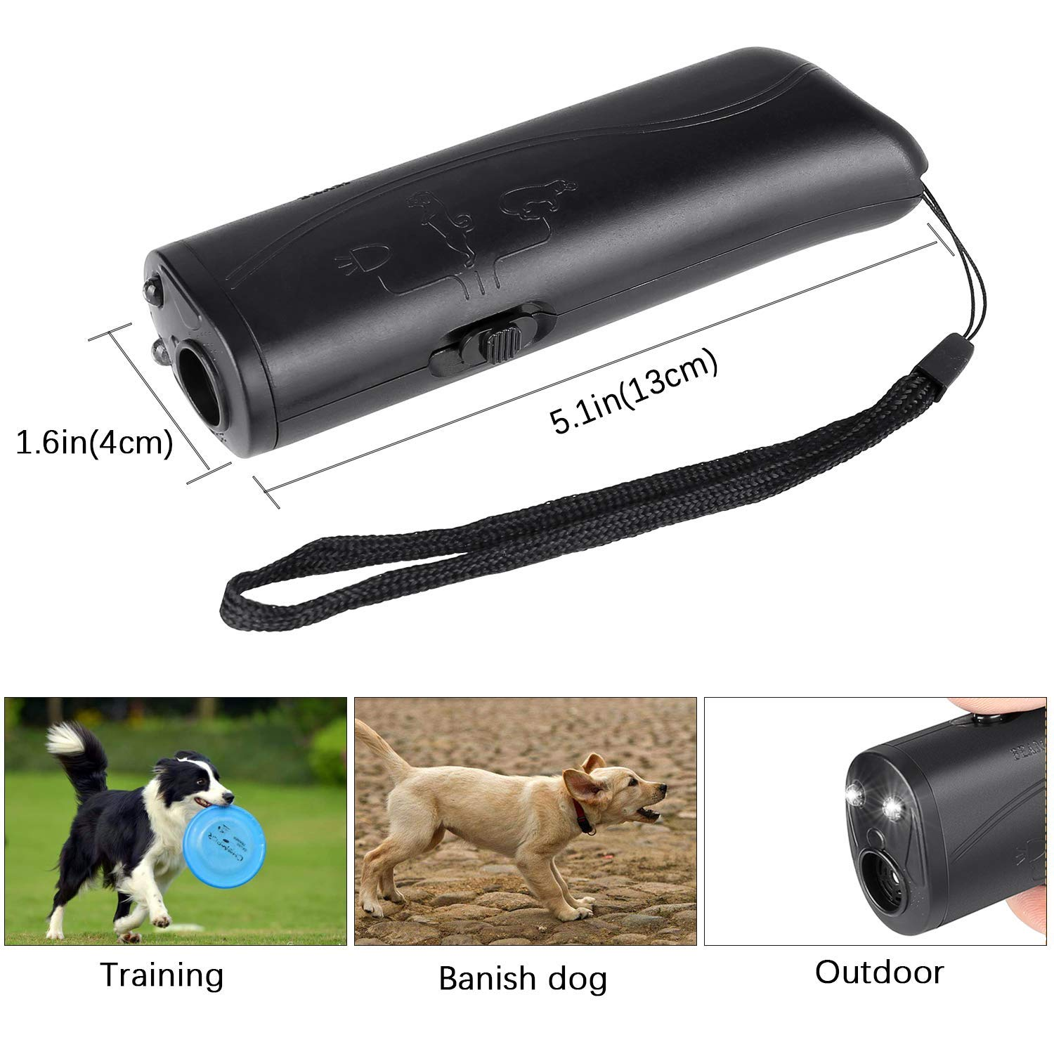 Ultrasonic Dog Repeller and Trainer Device 3 in 1 LED Pet Anti Barking Stop Bark Handheld