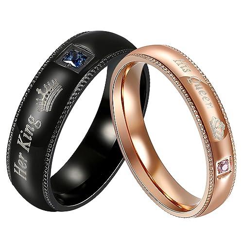 Jewelrywe King Seiner Queen Ring Set Edelstahl Paare Versprechen