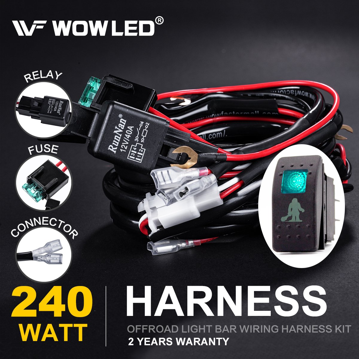Wowled Led Light Bar Wiring Harness Kit With Sasquatch Lights 4 Pin Yares Battery Terminal Fuse Rocker Toggle Switch On Off Relay Set 12v Blue For Car Marine Road 4x4 Jeep Suv