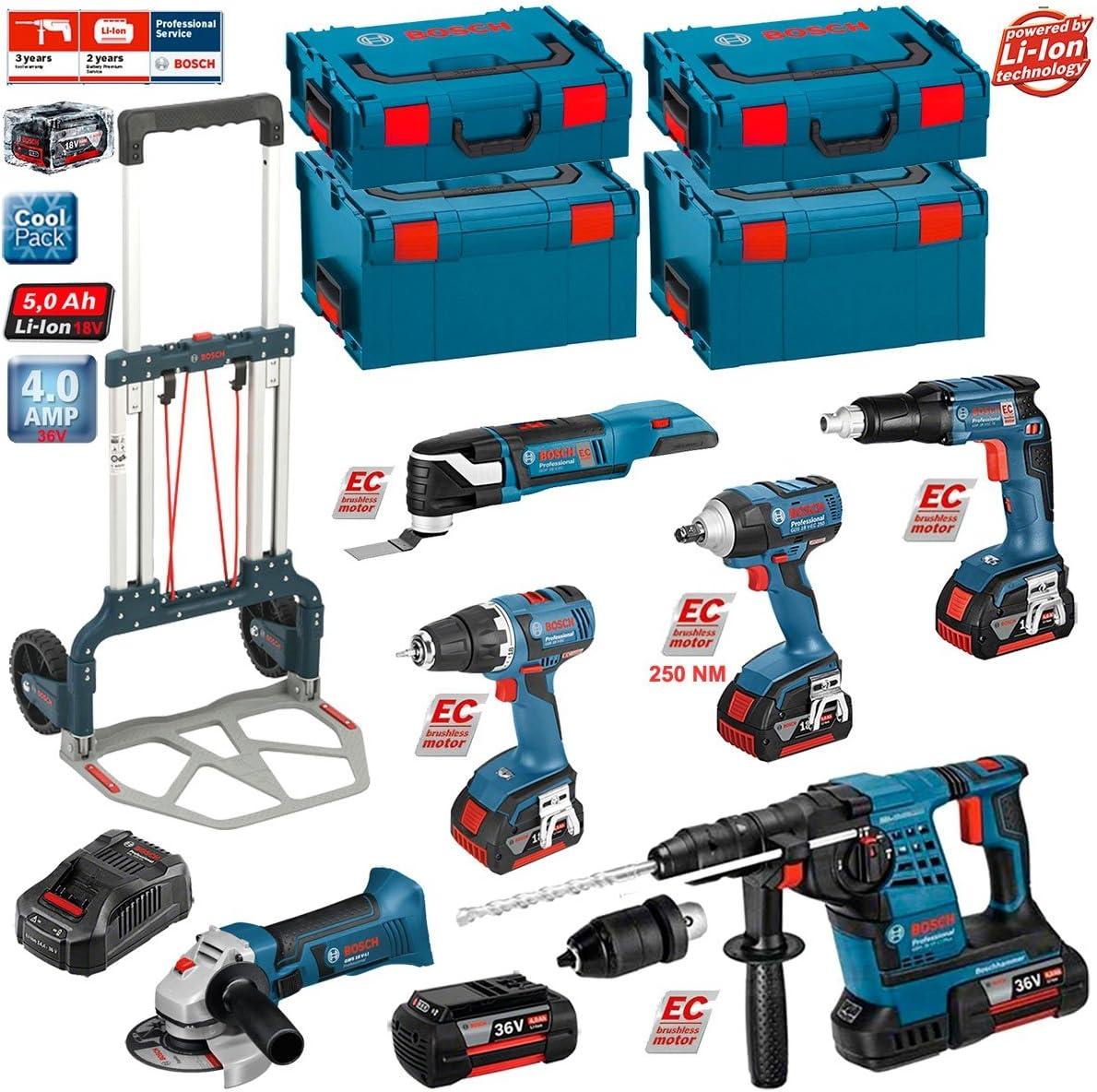 BOSCH Kit RSL3618P3LE (GBH 36 VF-LI Plus + GWS 18 V-LI + GSR 18V-60C + GSR 18 V-EC TE + GDS 18 V-EC 250 + GOP 18V-28 + Caddy): Amazon.es: Bricolaje y herramientas