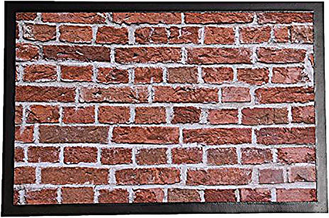 EVIDECO 14701178 Indoor Printed Door Mat Brick Wall Pvc Polyester Rug 24×16 Inc