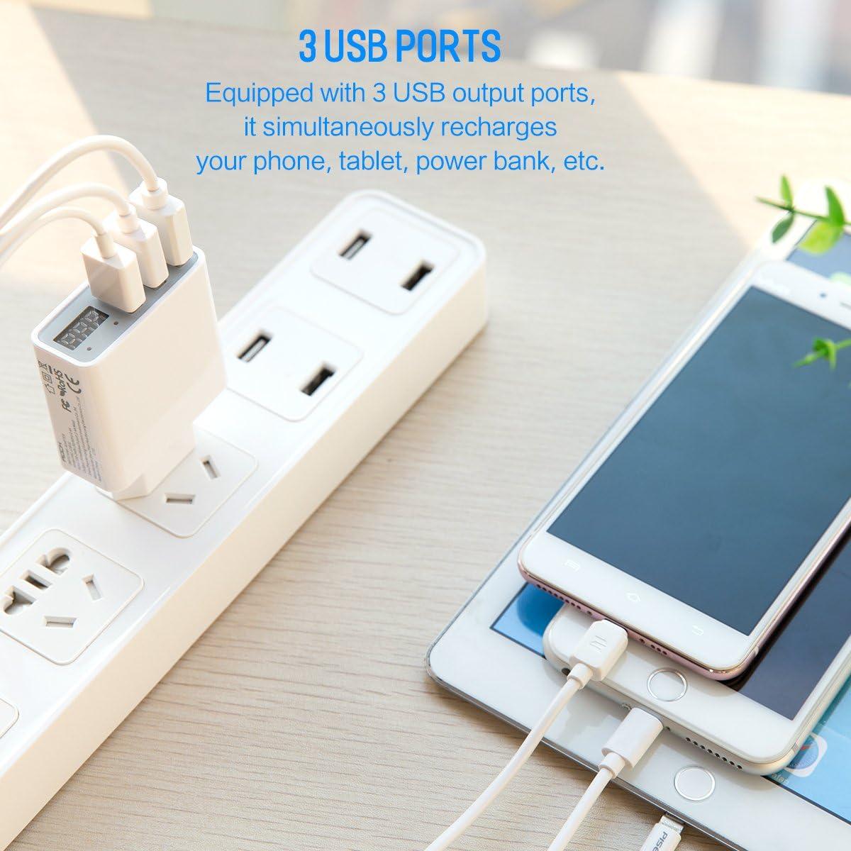 Rock Chargeur Usb Chargeur 3 Ports 30w Avec Chargeur Mural Led Pour Iphone Ipad Samsung Galaxy Nexus Htc Lg Et Autres Blanc