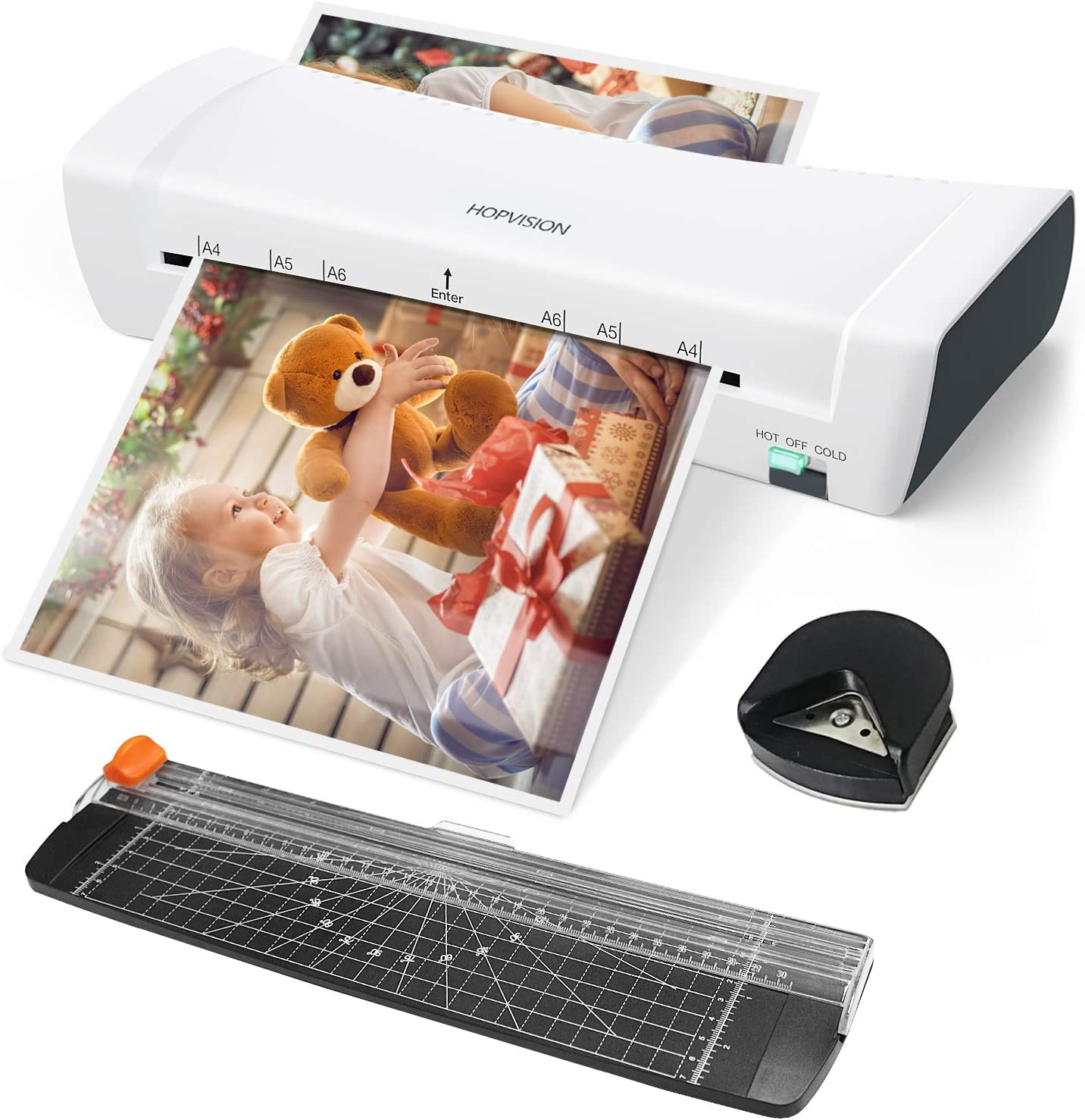 Laminator, HOPVISION A4 Laminator,4 in 1 Portable Laminating Machine with Hot and Cold Settings,9 inches,30 Laminating Pouches, Paper Trimmer, Corner Rounder