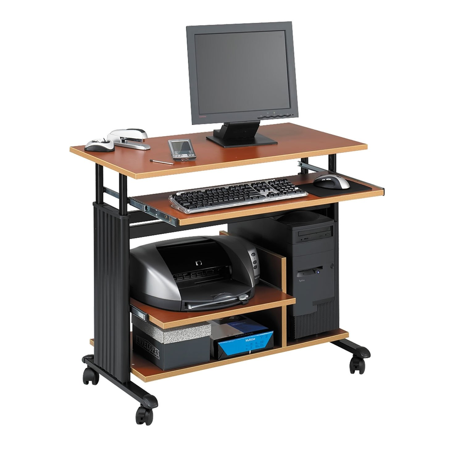 Safco Products 1927CY Muv Mini Tower 29-34H Stand-Up Desk Adjustable Height Computer Workstation with Keyboard Shelf