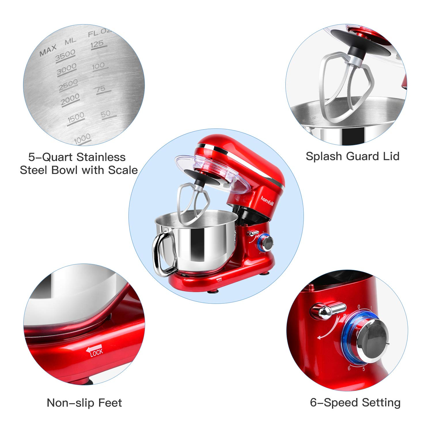 Hornbill Tilt-head Stand Mixer, Electric Mixer 600W 6-Speed 5-Quart Stainless Steel Bowl Professional Kitchen Mixer With Dough Hook, Whisk, Beater(Red) by Hornbill (Image #4)