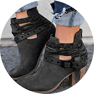 Amazon.com | Women Boots Casual Ladies Boots Suede Leather Buckle Boots High Heeled Zipper Snow Boot | Shoes