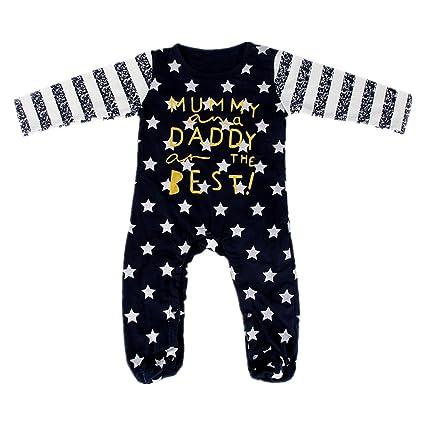 puseky recién nacido bebé niño Niña Manga Larga pies envuelto Pelele para bebé body azul marino