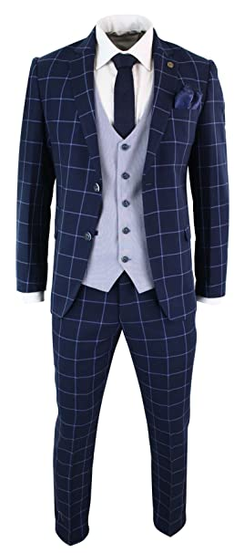 Mens Marc Darcy Slim Tweed Blazer Jacket Check Designer Wedding Party Retro